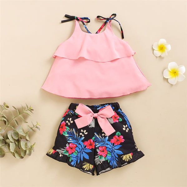 Girls Sling Top & Shorts Summer Sets wholesale kids boutique clothing