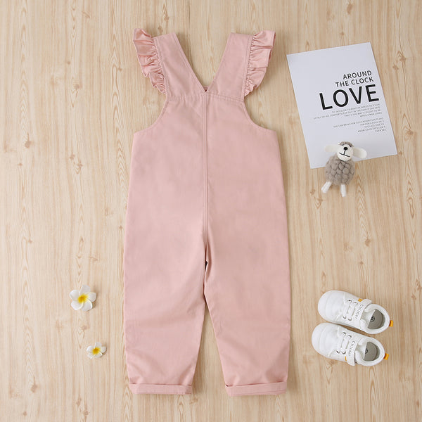 Girls Solid Cotton Pink Casual Jumpsuit Wholesale Girls Accessories
