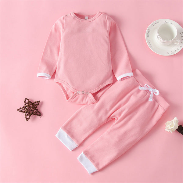 Baby Girls Solid Long Sleeve Romper & Pants Bulk Baby Clothes Online