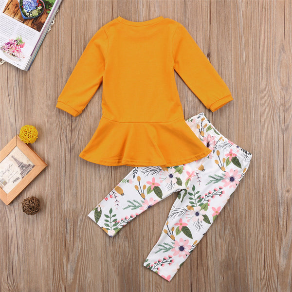 Girls Solid Round Neck Tops&Floral Pants Girls Clothing Wholesalers