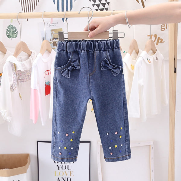 Girls Star Printed Bow Decor Denim Wholesale Clothing For Girls