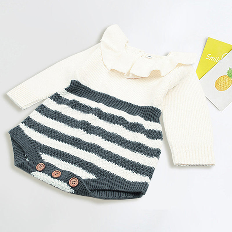 Baby Girls Striped Knitted Long Sleeve Romper