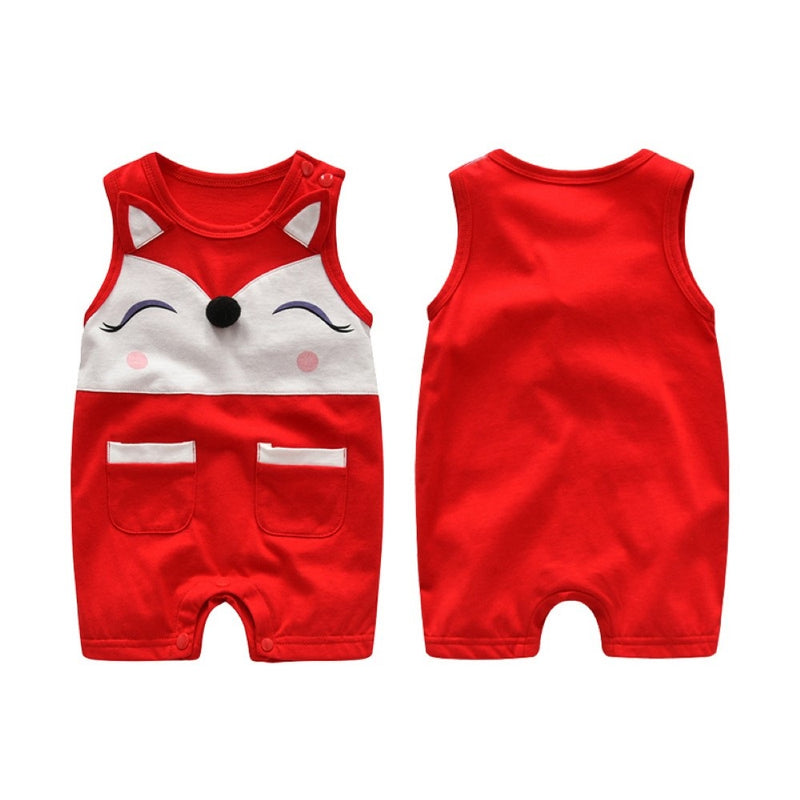 Girls Summer Baby Girl Cute Animal Head Print One-Piece Garment Wholesale Girls Clothing