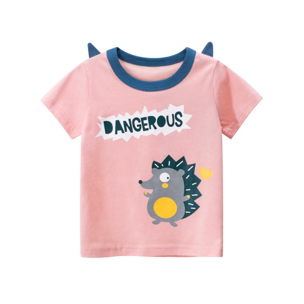 Girls Summer Girls Cute Cartoon Printed Round Neck Short Sleeve T-Shirt Girl Boutique Clothing Wholesale