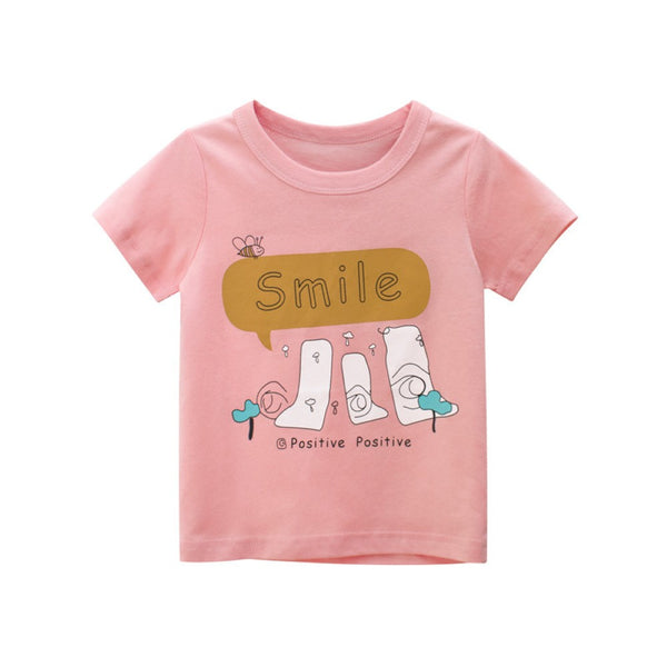 Girls Summer Girls Cute Print Round Neck Short Sleeve T-Shirt Girls Boutique Clothing Wholesale