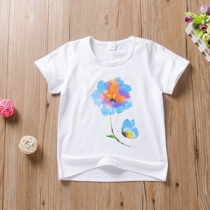 Girls Summer Girls Floral Round Neck Short Sleeve T-Shirt Wholesale Girls Clothing