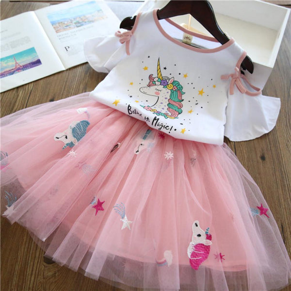 Girls Summer Girls Solid Printed Princess Dress Girls Dress Wholesale