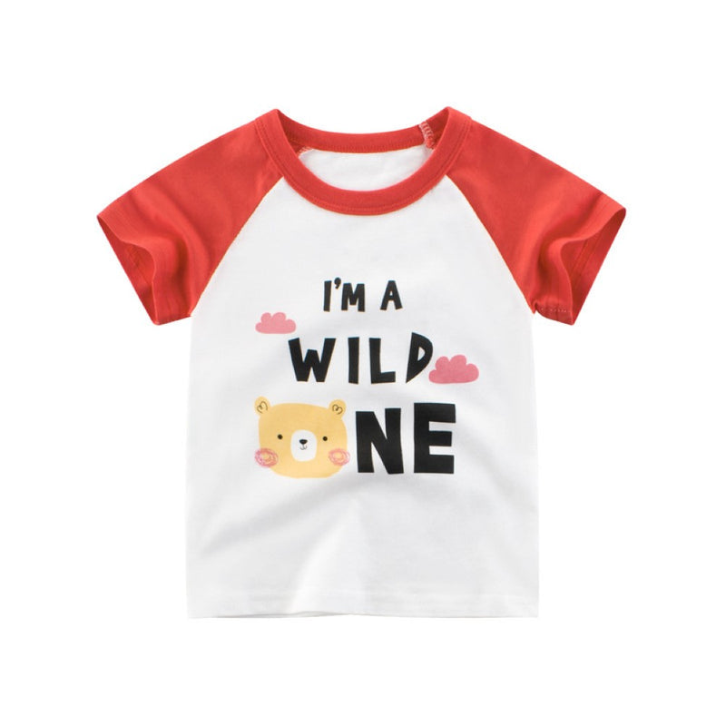 Girls Summer Girls' Cartoon Letter Printed Round Neck Short Sleeve T-Shirt Wholesale Girls Clothing