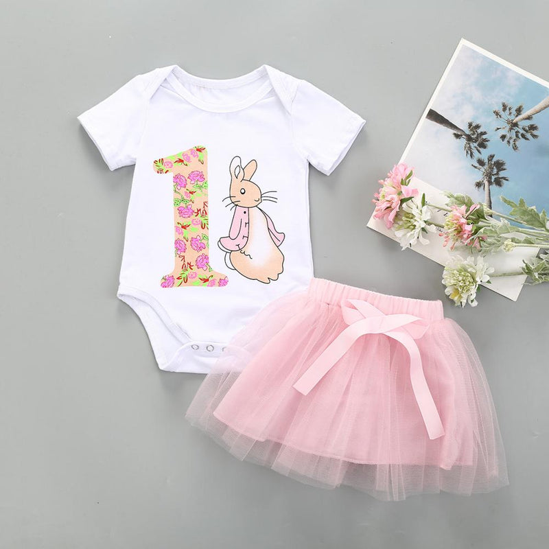 Girls Summer Girls' Cartoon Rabbit Print Short Sleeve Jumpsuit & Gauze Skirt Toddler Girl Wholesale Clothing