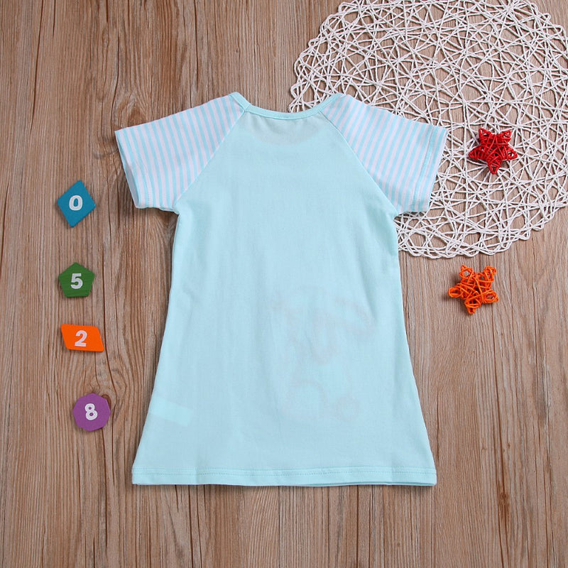 Girls Summer Girls' Rabbit Embroidered Round Neck Short Sleeve Blue T-Shirt Wholesale Girls Clothing