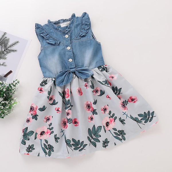 Girls Summer Girls' Sleeveless Printed Denim Skirt Girls Boutique Clothes Wholesale