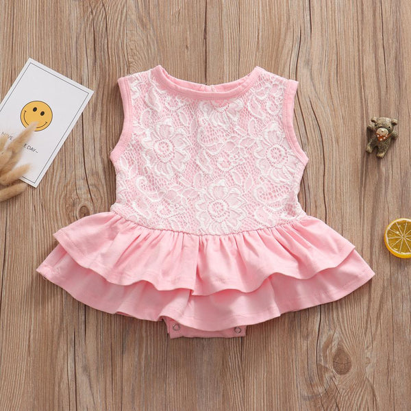 Girls Summer Girls' Solid Lace One Piece Wholesale Girl Clothing