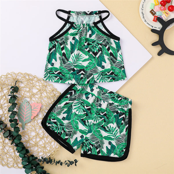 Girls Summer Green Leaf Printed Sleeveless Top & Shorts children wholesale clothing