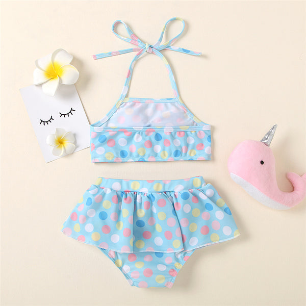 Girls Swimsuit Bow Polka Dot Sling Top & Shorts Toddler 2 Piece Swimsuit