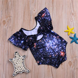 Girls'  Starry Sky Print One Piece Swimsuit Toddler One Piece Swimsuit