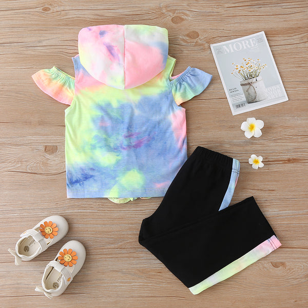 Girls' Suit Tie-Dye Letter Printing Long-Sleeved Hooded Top And Trousers Suit Trendy Kids Wholesale Clothing