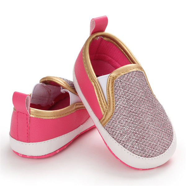 Baby Girls Glitter Slip On Comfy Flat Shoes