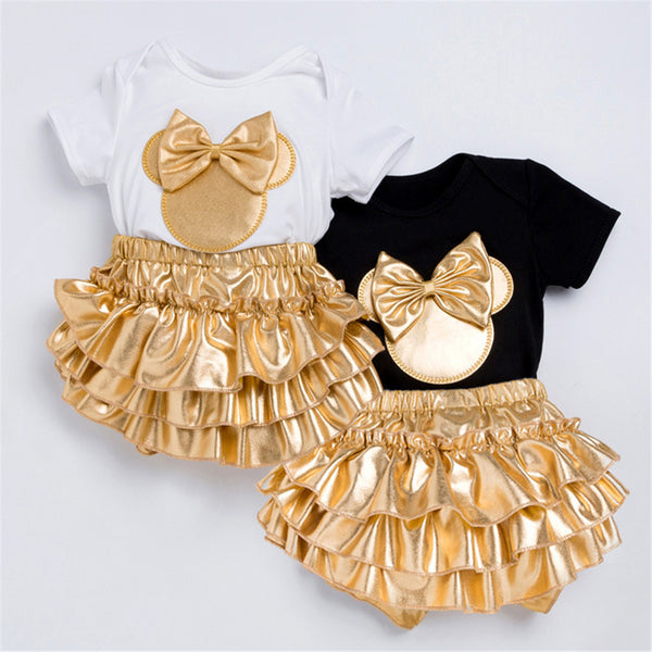 Baby Girls Golden Bow Decor Short Sleeve Romper & Shorts & Headband Wholesale Clothing Baby