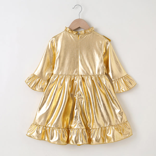 Girls Golden Long Sleeve Solid Color Pleated Dress Wholesale Girl Boutique Clothing