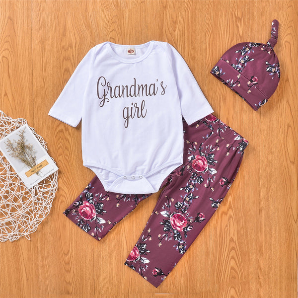 Baby Girls Grandma's Girls Romper & Floral Printed Pants & Hat Baby Clothes Vendors