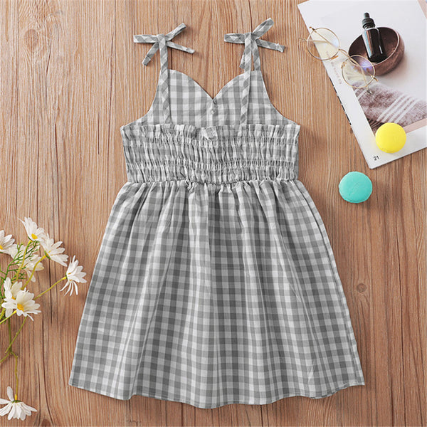 Girls Gray Plaid Sling Dresses wholesale kids boutique clothing