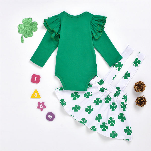 Baby Girls Green Long Sleeve Solid Romper & Leave Printed Suspender Skirt Buy Wholesale Baby Clothes