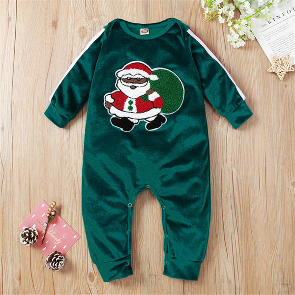 Baby Boys Green Santa Claus Long Sleeve Romper Christmas Baby Clothes