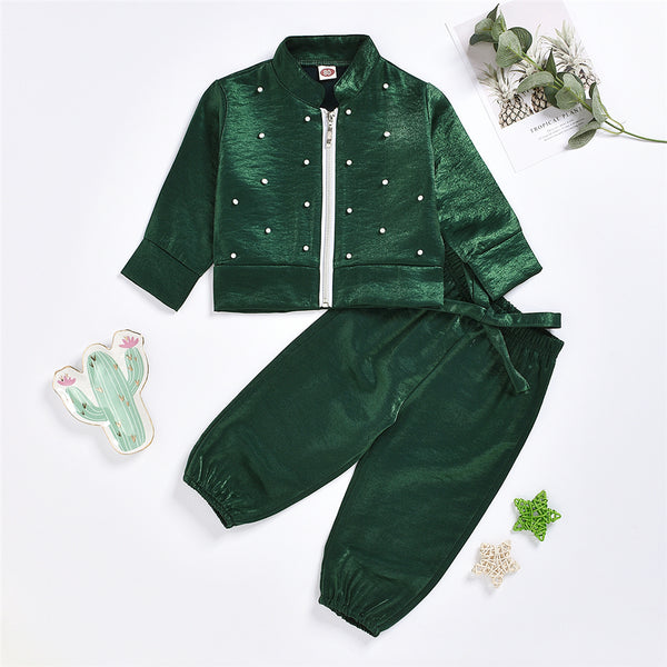 Girls Green Zipper Beaded Long Sleeve Jacket & Pants Wholesale Girl