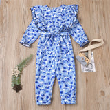 Girls Grew Neck Long Sleeve Printed Ruffled Jumpsuit Toddler Clothing Wholesale