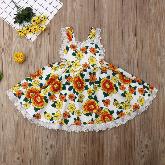Toddler Girls Sleeveless Suspender Dress Lace Sunflower Princess Skirt