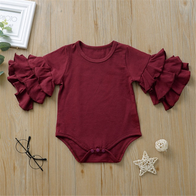 Baby Girl Half Sleeve Ruffle Solid Romper Baby Clothes Cheap Wholesale