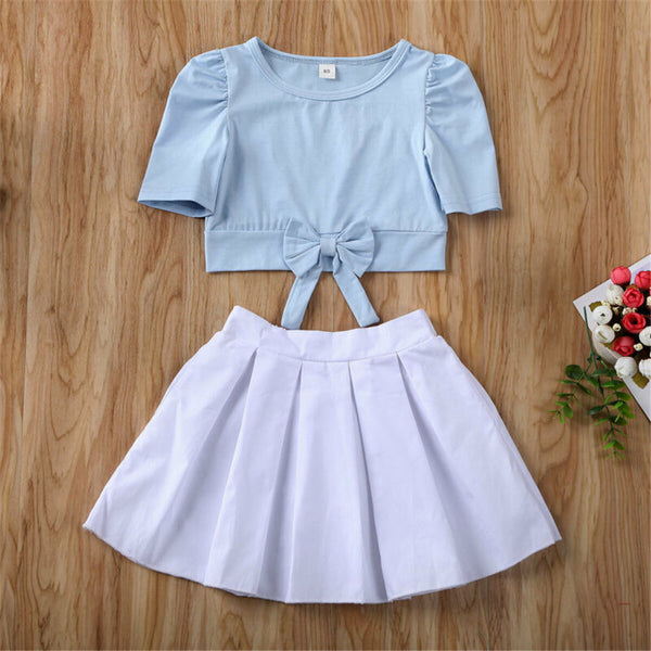 Girls Half Sleeve Solid Bow Top & Skirt wholesale childrens clothing online