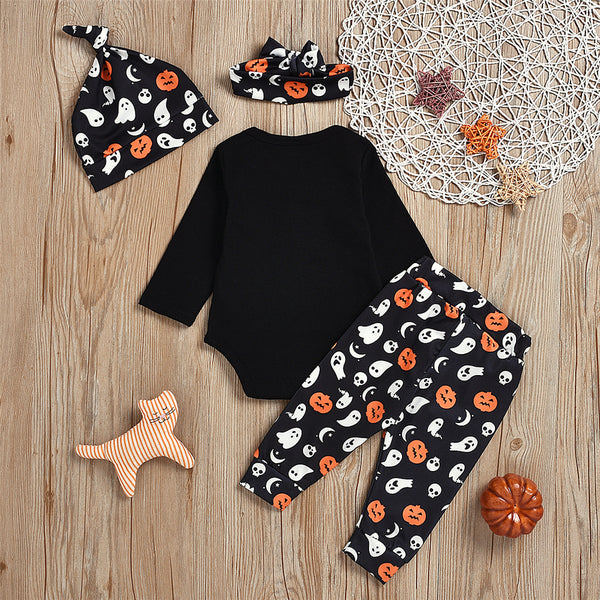 Baby Unisex Halloween 4PCS Romper & Pants & Hat & Headband Wholesale