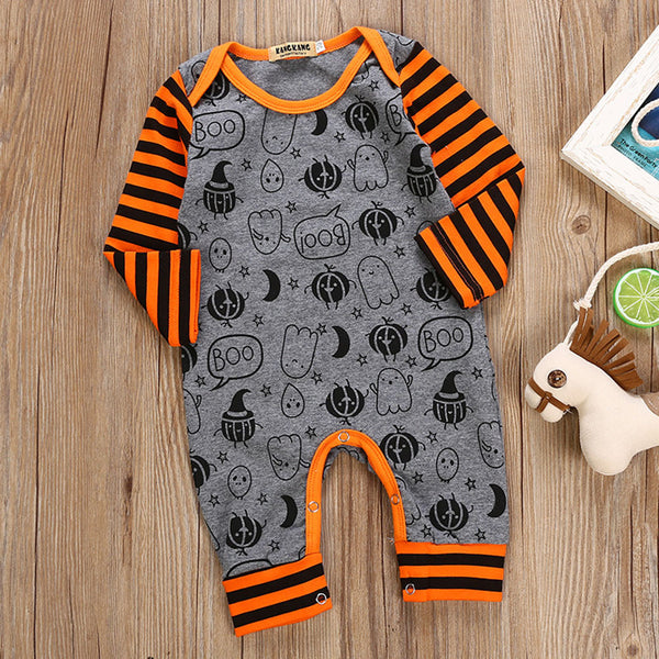 Baby Halloween Cartoon Print Stripe Romper