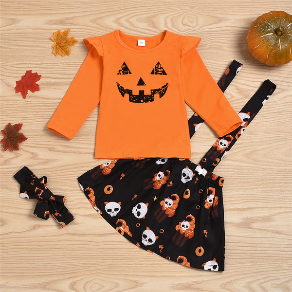 Girls Halloween Cartoon Top & Suspender Skirt & Headband Girls Wholesale