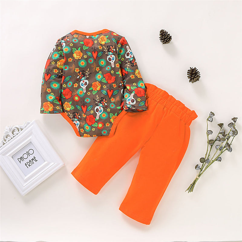 Baby Girls Halloween Element Ptinted Romper & Trousers