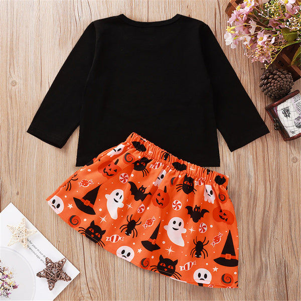 Girls Halloween Letter Printed Top & Bow Skirt Cheap Boutique Baby Clothes