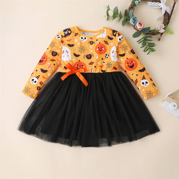 Girls Halloween Printed Long Sleeve Tulle Dress Wholesale Cheap Tutus For Girls