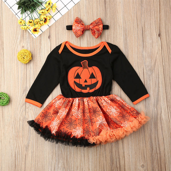 Baby Girls Halloween Pumpkin Printed Tulle Dress Kid Apparel Wholesale