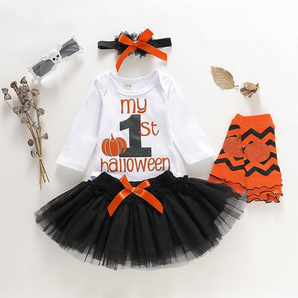 Baby Girls Halloween Romper & Mesh Skirt & Headband Set