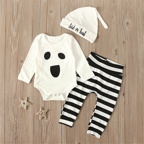 Baby Boys Halloween Romper & Striped Trousers & Hat Baby Wholesale
