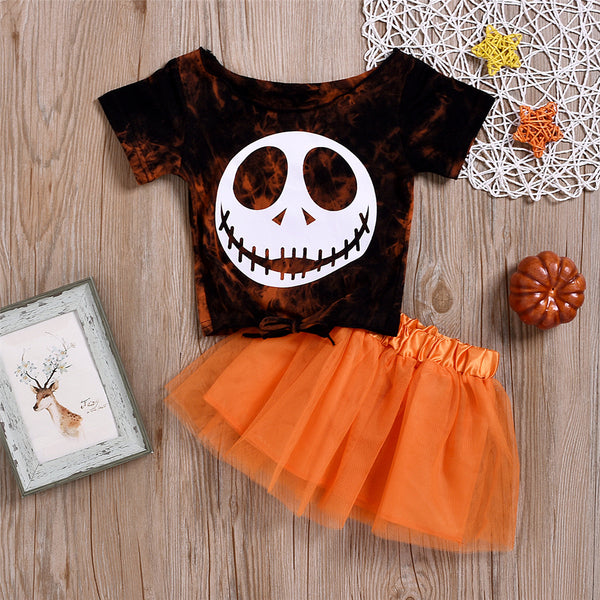 Girls Halloween Short Sleeve Top & Tutu Skirt Wholesale Girl Clothing