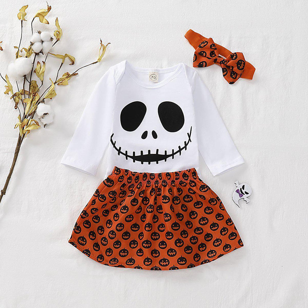 Baby Girls Halloween Skull Romper & Skirt & Headband