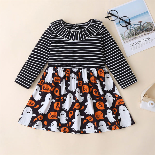 Girls Halloween Striped Printed Princess Dress Wholesale Girl Dresses