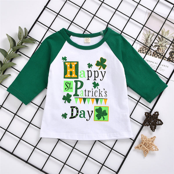 Baby Girls Happy Letter Printed Long Sleeve T-shirt Baby Clothes Wholesale Supplier