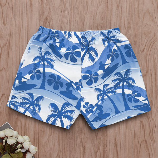 Boys Hawaiian Style Coconut Tree Printed Beach Shorts Boy Clothes Wholesale