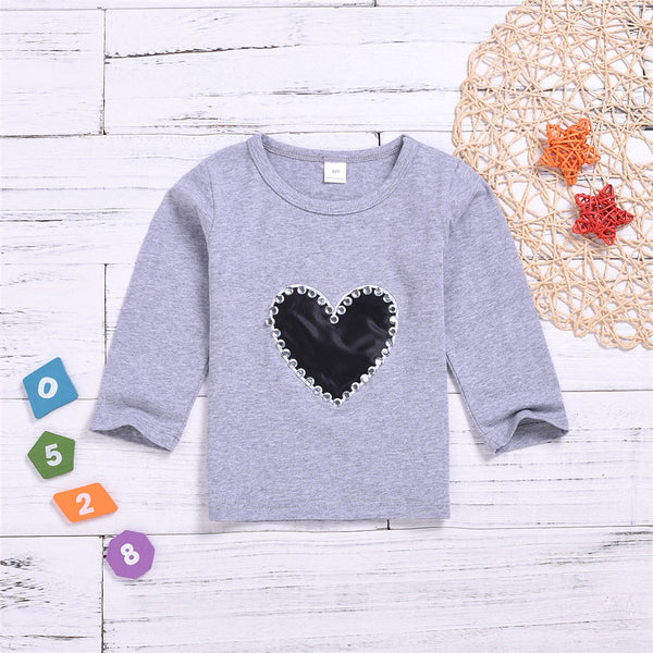 Toddler Girls Heart Beading Long Sleeve Tops Girl T Shirts Wholesale