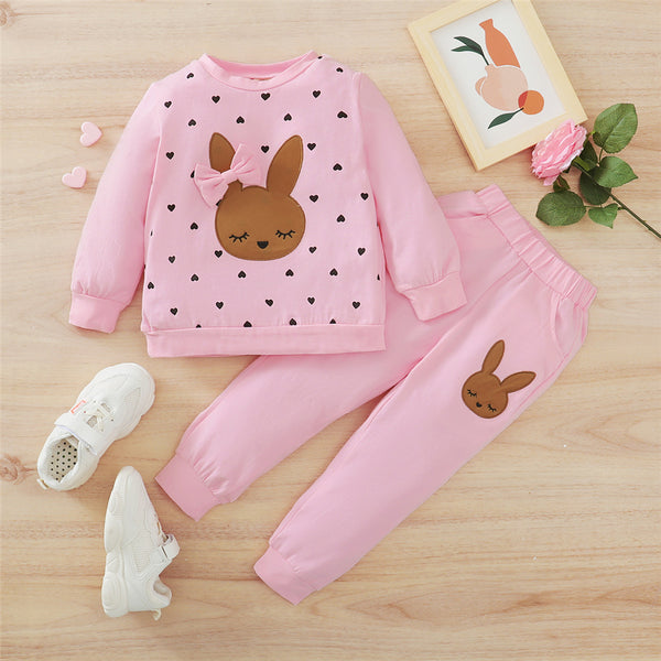 Baby Girls Heart Cartoon Printed Long Sleeve Top & Pants Baby Outfits