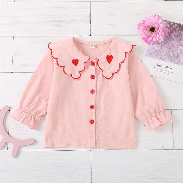 Girls Heart Collar Long Sleeve Casual Blouse Wholesale Baby Girl Clothes