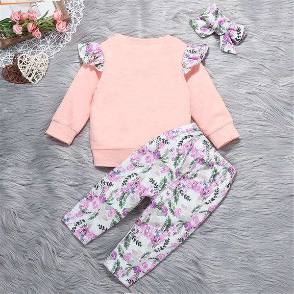 Baby Girls Heart Floral Print Top & Pants & Headband Baby Wholesale Clothing